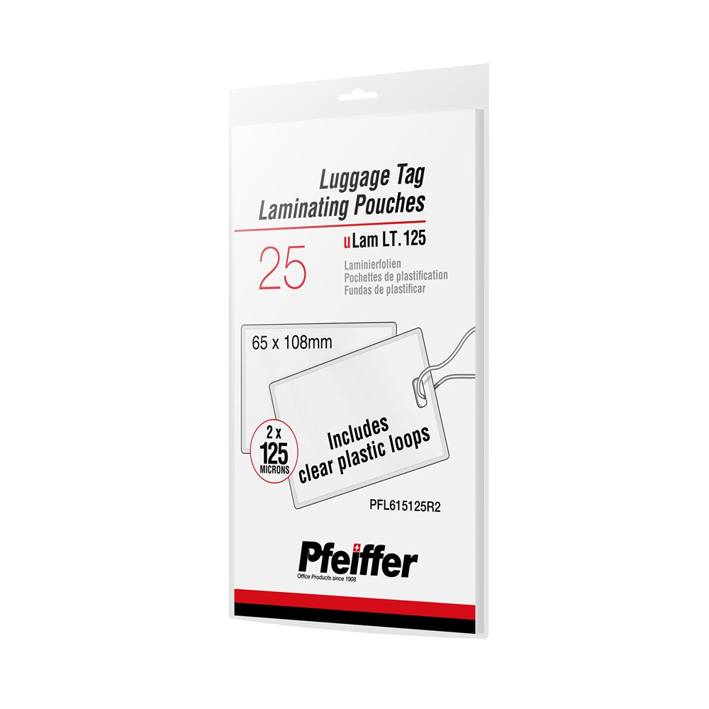 5mil Luggage Tag & Loops Laminating Pouches 25pcs by Pfeiffer Packshot