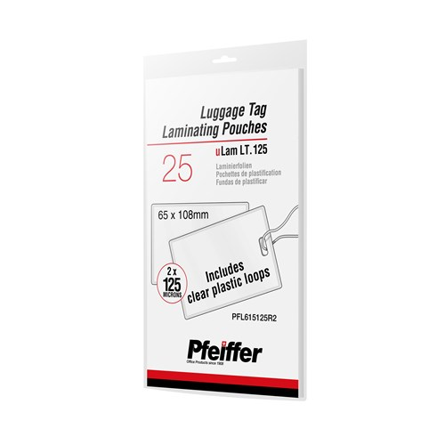 Pfeiffer Luggage Tag Laminating Pouches 125 mic, with Plastic Loops, 25-Pack (R)