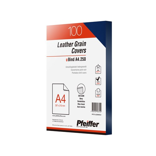 Pfeiffer Leathergrain Covers A4 250gsm Navy, 100-Pack (C)